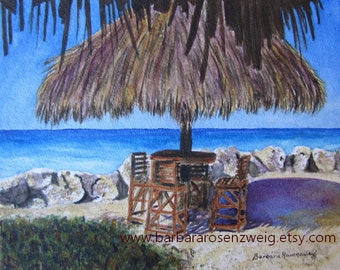 Beach Painting, Beach Wall Art, Beach Print, Tiki Beach Art Print, Beach Watercolor Print, Tropical Seashore Art, Beach Home Decor, Art Gift