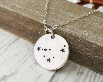 Capricorn Necklace- Zodiac Jewelry- Constellation Jewelry- Stars- December January Birthday Gift for Her- Sterling Silver - Bronze - Gold