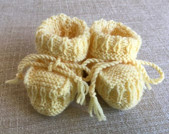 Hand Knitted Booties in Buttercup.