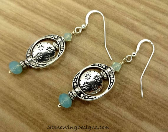 Swarovski Pacific Opal and Sterling Silver Earrings