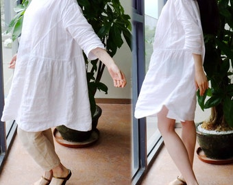 307---Women's White Washed Linen Blouse / Top / Tunic Dress, Plus Size Clothing, Made to Order.