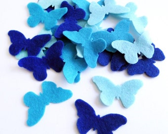 Felt Butterflies Blue, 24 pieces, butterflies, felt suplies, felt, felt die cut, Felt butterfly shapes, felt supplies, scrap supplies
