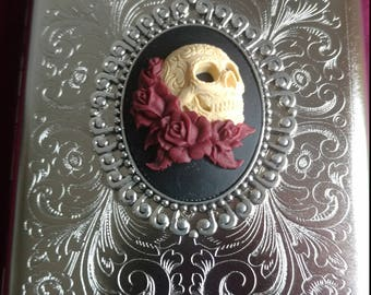 Maroon Or Purple Death & Roses silver Gothic Cigarette case / wallet / card  Steel 100mm King size