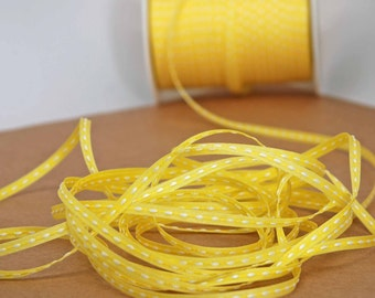 Solid Stitched Center Ribbon -- 1/8 inch -- Lemonade Bright Yellow
