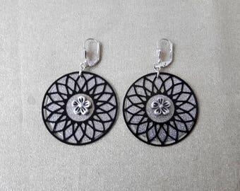 Silver sequin black rosette earrings