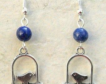 Bird Earrings with Lapis Lazuli and Sterling Silver Hooks LB1