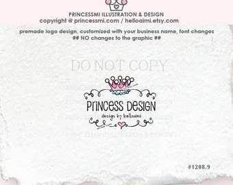 1208-9  crown logo design, kids business logo, child boutique logo, photography logo, watermark, banner, business card