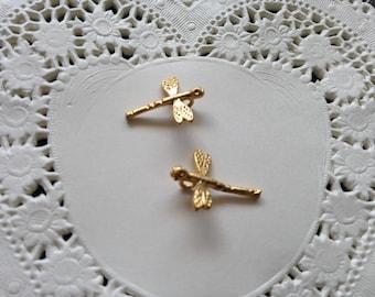 2pcs 13.5x12mm matte Golden Dragonfly shaped charm
