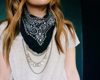Black bandana with silver chain