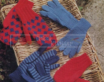 Children's Gloves and Mitts 6-11 years 4ply DK Patons 1237 Vintage Knitting Pattern PDF instant download