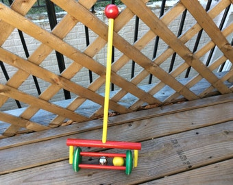 Vintage Push Toy Rattle, Toy Chime, Shabby Chic, Retro Toy, Child's Play Time, Collectible Toy , Toy Mower