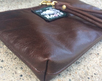 Upcycled Leather Wristlet, Clutch, Ready to Ship