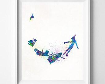 Disney Peter Pan, Peter Pan Print, Disney Poster, Peter Pan Poster, Peter Pan Art, Gift Her Her, Gift Idea, Wall Art, Type 1, Dorm Art