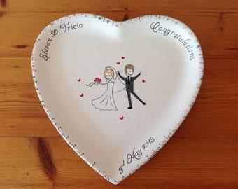 Hand Painted Ceramic Heart Wedding Plate - Bride & Groom