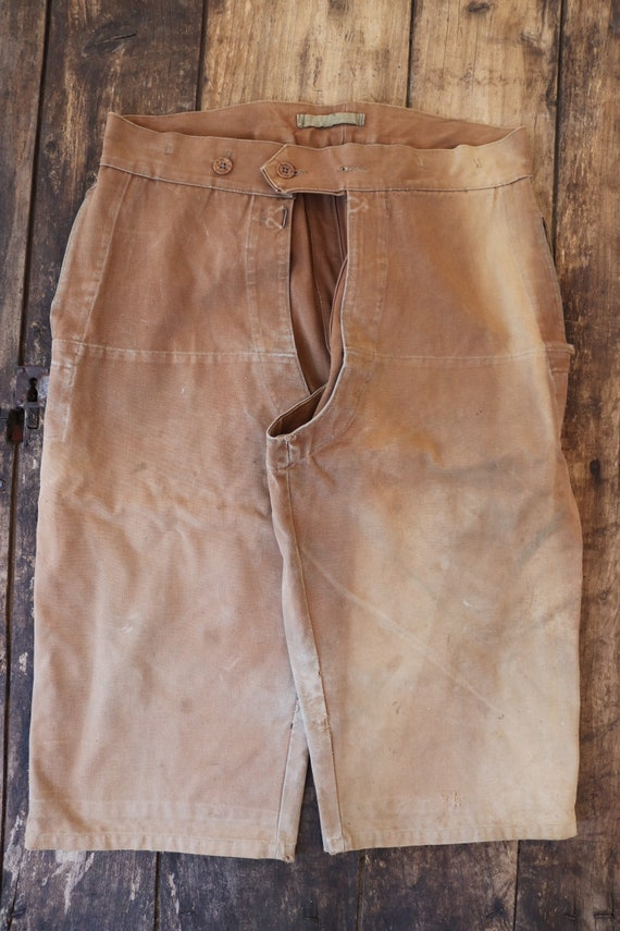 """Vintage 1940s 40s 1950s 50s french brown canvas riding chaps buckle back adjustable sun faded 32"""" 36"""" waist"""