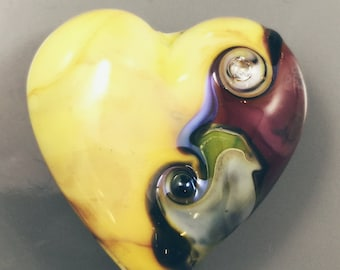 Lampwork-Focal-Heart-Uranium Yellow accented with Purple/Green/Davinci Mosaic Shard and Clear Crystals on both sides