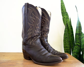 Men's 8 1/2 Dan Post 70s Vintage Dark Brown Leather Cowboy Boots Western 8.5