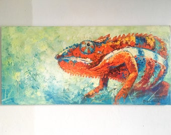 "Original Oil Painting Chameleon, Animal Painting, Oil on Canvas, Oil Painting, Chameleon Oil, Animal Oil, Impressionist 17.7""x37.4"" +Canvas"