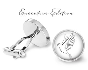 Cufflinks - White Dove Cufflinks - Wedding Dove Cuff Links - Bird Cufflinks - Animal Cuff Links (Pair) Lifetime Guarantee (S0540)