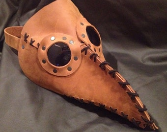 Hand stitched Leather Plague Doctor mask burning steampunk halloween costume man
