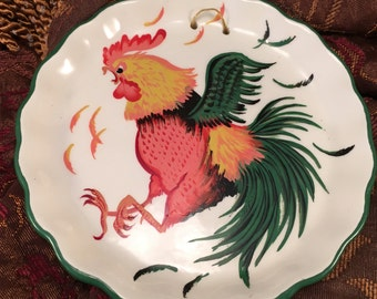 Helen DeTar Of California Hand Painted Rooster Plate, Vintage Wall Decorative Ceramic Dish, Item #464493767