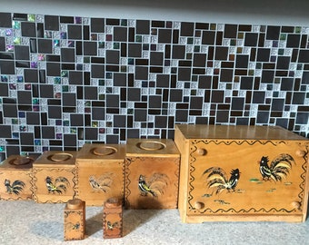 Vintage Canister Set woodpecker woodware 7 Piece// Kitchen Canister Set// Bread Box// Wood Canister