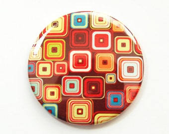 Pocket mirror, purse mirror, abstract design, mirror, gift for her, Bright colors, Kellys Magnets, retro design (4002)