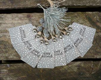 Set of 8 christmas tags-merry christmas gift tags-hand made tags