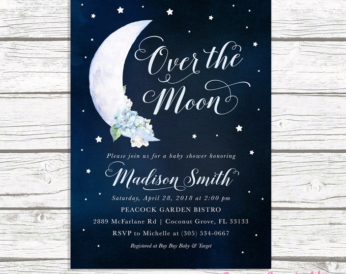 Over the Moon Baby Shower Invitation, Moon and Stars Baby Shower Invitation, Moon Baby Shower Invite, To the Moon and Back Boy Baby Shower