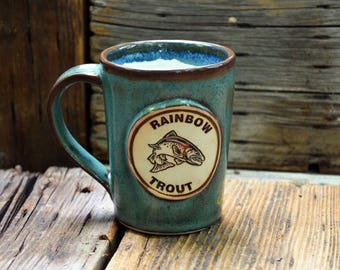 Trout/Fishing Handmade Stoneware Pottery Mug