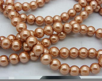 50 8 mm mother of Pearl Gold Orange glass beads