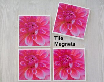 Pink Magnets Pink Flower Magnets Pink Flowers Pink Flower Photo Magnets Pink Tile Magnets Gift for Mom Gift for Friend New Home Gift - 4