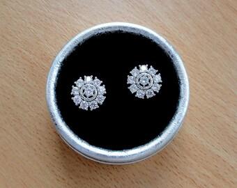 Diamond stud earrings Bridal earrings studs Rhinestone Wedding earrings Silver stud earrings Bridesmaid earrings crystal Bridesmaid jewelry