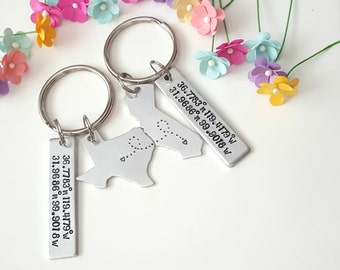 Long Distance Keychain, Coordinate Keychain, Long Distance Relationship, Couple Keychains, Anniversary Gift for Boyfriend, Custom Keychains