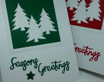 Handmade Christmas Card Snowy Fir Tree Red Green
