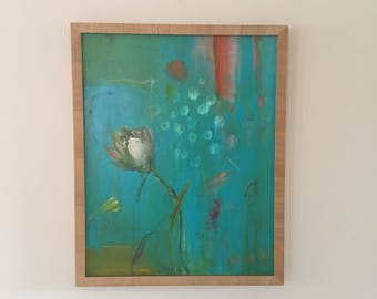 Contemporary Floral Painting- Framed-16 x 20 wood frame included- Original -Tulip Abstract - Teal - White