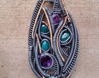 Amethyst, Emerald, Silver, Gold, Wire Wrap, Pendant, Handmade Jewelry