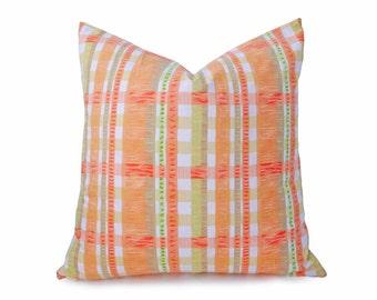 Orange White Pillow, Orange Pillows, Spring Pillow, Striped, Decorative Pillow, Sofa Pillow, Cushion Cover, Orange Yellow Green, 18x18, 20