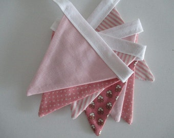 the mini evie - pink, spot, stripe, flowers, girl, fabric bunting flag banner