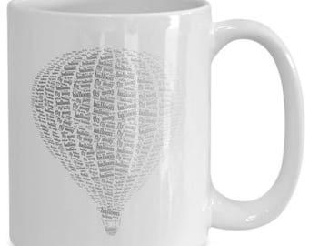 Hot Air Balloon Fly Away Mug Black and White