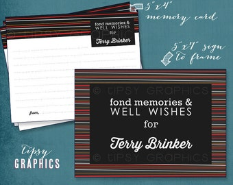 Fond Memories & Well Wishes Printable Advice Cards. Masculine Stripe Design by Tipsy Graphics. Retirement, Milestone Birthday, Going Away