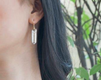 Dangle Earrings. Clarity Earrings. Tiny Quartz Crystal Point Earrings. Raw Quartz Jewelry. Dangle Earrings. Clear Quartz