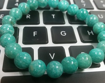 9mm Amazonite Round beaded Stretch Bracelet , length 8 Inch , Good Quality , Amazonite bracelet