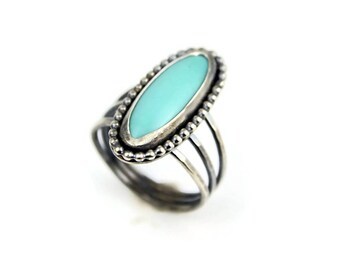 Turquoise Ring - Silver Ring - Boho Ring - Summer Jewelry - Natural Turquoise Silver Ring - December Birthstone Ring Gem Ring - Boho