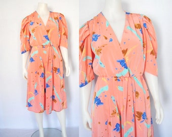 80s Bold Graphic Faux Wrap Dress -- pink peach, floral, paint brushstroke, pleated, bold shoulder, vintage, 1980s 80s dress, medium