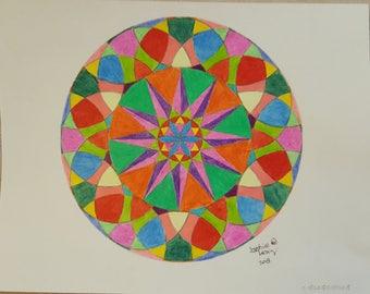 Original Colored Pencil Mandala Drawing