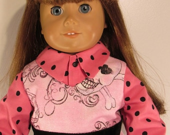 Pink gothic skulls and bows dress and polka dot blouse fits 18 inch dolls girly skulls  #d87