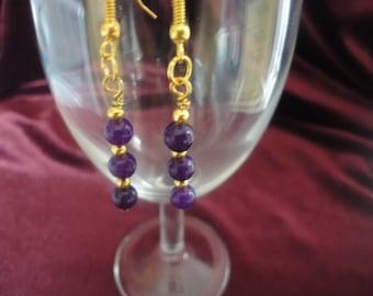 Amethyst Semi Precious Gemstone Dangle Drop Earrings - E59