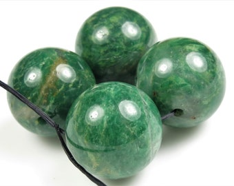 GREAT SALE - was 9.99 - Luscious Green African Jade Large Round Beads - 16mm - 4 beads - B9291