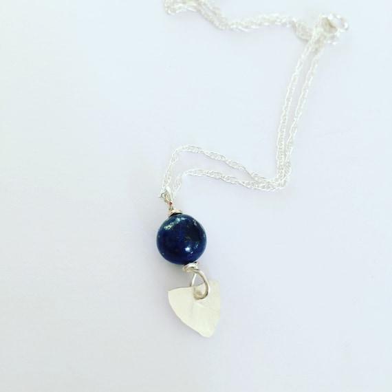 Lapis Lazuli Hammered Sterling Silver Arrowhead Necklace - Chakra - Healing - Blue - Triangle - Boho - Bohemian - Festival